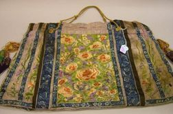 Chinese Silk Embroidered Bag with Carved Ivory and Hardstone Beaded Tassels.