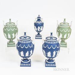 Five Modern Wedgwood Jasper Covered Urns
