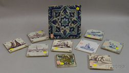 Two Persian and Eight Delft Tiles