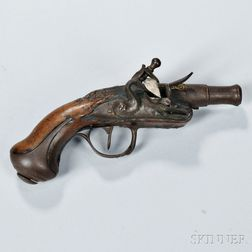 French Pocket Flintlock Pistol