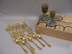 Set of Israeli Wine Cups and Saucers and a Set of Thirteen Russian Gilt Sterling Forks and Six Spoons.