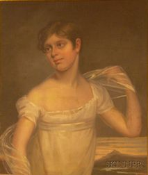 American School, 19th Century      Portrait of a Young Woman in White.