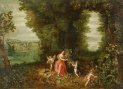 Attributed to the Monogrammist IHB (Flemish, 17th Century)  Ceres and Putti/An Allegory of Harvest