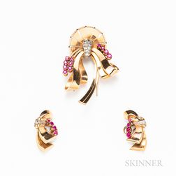 Retro Gold, Diamond, and Ruby Brooch and Earclip Set
