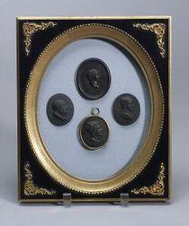 Four Wedgwood Black Basalt Portrait Medallions