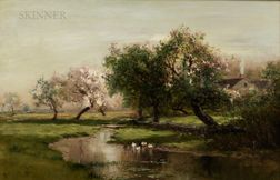 Arthur Parton (American, 1842-1914)      Spring Landscape
