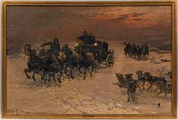 Alfred von Wierusz-Kowalski (Polish, 1849-1915)      The Daring Escape/A Coaching Scene