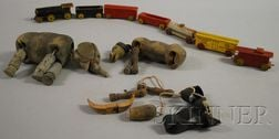 Seven-piece Painted Wood Toy Train and Two Painted Wood Animal Marionettes