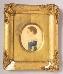 American School, 19th Century    Miniature Portrait of a Little Girl Wearing a Blue Dress.