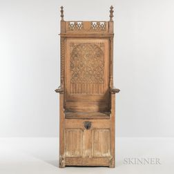 Gothic-style Carved Oak Armchair