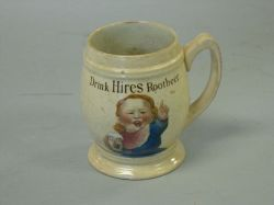 "Villeroy & Boch ""Drink Hires Rootbeer"" Colored Transfer Decorated Stoneware Mug"