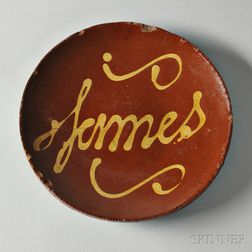 Redware Plate with Yellow Slip Inscription