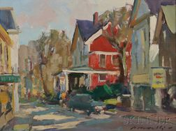 Charles J. Movalli (American, b. 1945)    Three Landscapes: Main St., Rockport ,  Mill: New Durham