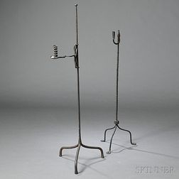 Two Wrought Iron Floor Lighting Devices