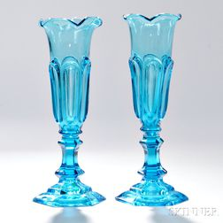 Pair of Light Blue Pressed Glass Loop Pattern Vases