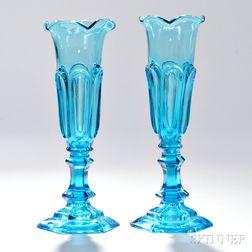 Pair of Light Blue Pressed Glass Loop Pattern Vases