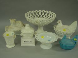 Sixteen Pressed Milk Glass Table Items