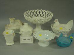 Sixteen Pressed Milk Glass Table Items