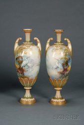 Pair of Royal Worcester Porcelain Handpainted Vases