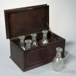 Mahogany Liquor Box and Five Colorless Glass Decanters