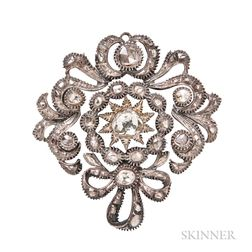 Rose-cut Diamond Brooch