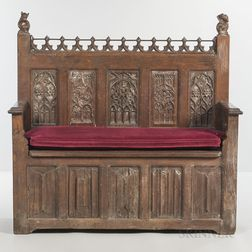Gothic-style Oak Settee