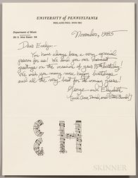 Crumb, George (b. 1929) Typed and Autograph Signed Letters, Group of Eight, 1973-1986.