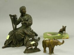 Bronze Fox Mounted Onyx Ashtray, Metal Horse, Elephant and a Metal Classical Figure.