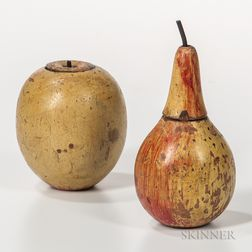 Two Painted and Turned Wood Fruit-form Tea Caddies