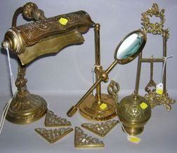 Group of Nine Brass Table Accessories
