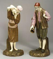 Pair of Royal Worcester Porcelain Eastern Water Carriers