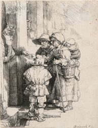 Rembrandt Harmensz van Rijn (Dutch, 1606-1669)      Beggars Receiving Alms at the Door of a House