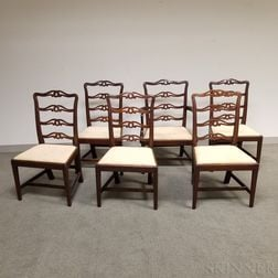 Six Chippendale Carved Mahogany Ribbon-back Dining Chairs
