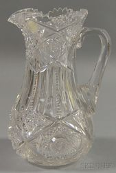 Colorless Cut Glass Water Pitcher