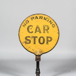 Two-sided Iron Trolley Car Stop Sign