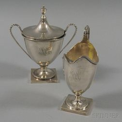 Peter L. Krider & Co. for Shreve, Crump & Low Sterling Silver Neoclassical-style   Creamer and Sugar