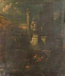 Manner of Giovanni Paolo Pannini (Italian, 1691-1765)  Figures Before the Classical Ruins