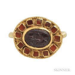 Ancient Roman Gold and Garnet Intaglio Ring