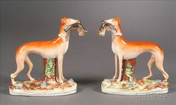 Pair of Staffordshire Standing Whippets