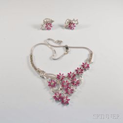 18kt White Gold, Ruby, and Diamond Suite