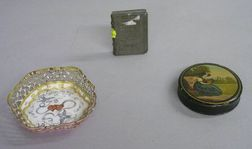 Battersea Enamel Motto Dish, a Small Carved Stone Bible, and a Papier-mache Snuff   Box