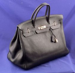 Lady's Black Togo Leather Handbag, Hermes