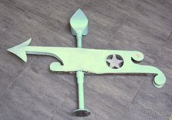 Painted Sheet Metal Arrow and Banner Weather Vane