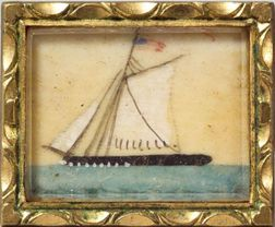 American School, 19th Century    Miniature Painting of an American Sailing Vessel.
