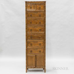 Contemporary Carved Bamboo Tall Chest of Drawers