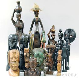 Group of Carved Wood Mostly African Figures