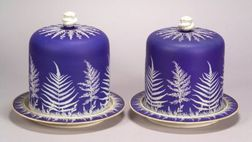 Pair of Dark Blue Jasper Dip Cheese Keeps