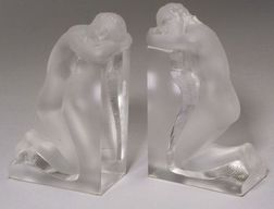 Pair of Figural Glass Bookends