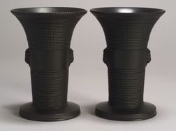 Pair of Wedgwood Black Basalt Vases