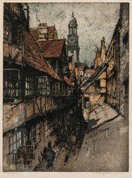 Luigi Kasimir (Austrian, 1881-1962)      Three Views: Old Hamburg